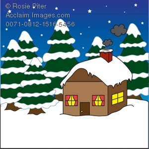 Snow cabin clipart banner free download Royalty Free Clipart Illustration of a Cabin in the Snow banner free download