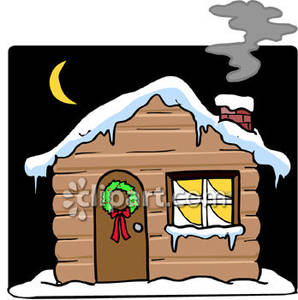 Snow cabin clipart image royalty free library Cartoon of a Log Cabin, with Snow on the Roof, At Night ... image royalty free library