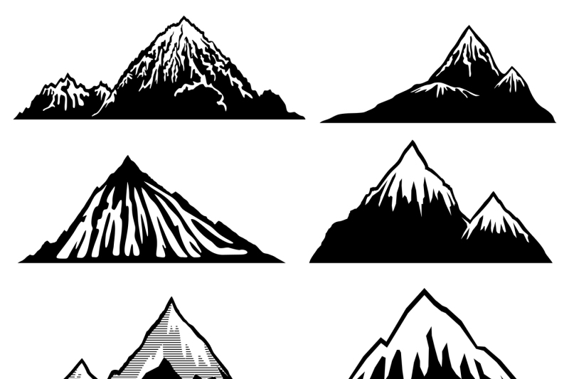 Snow capped peaks clipart clip freeuse download Highlands, mountains vector silhouettes with snow capped ... clip freeuse download