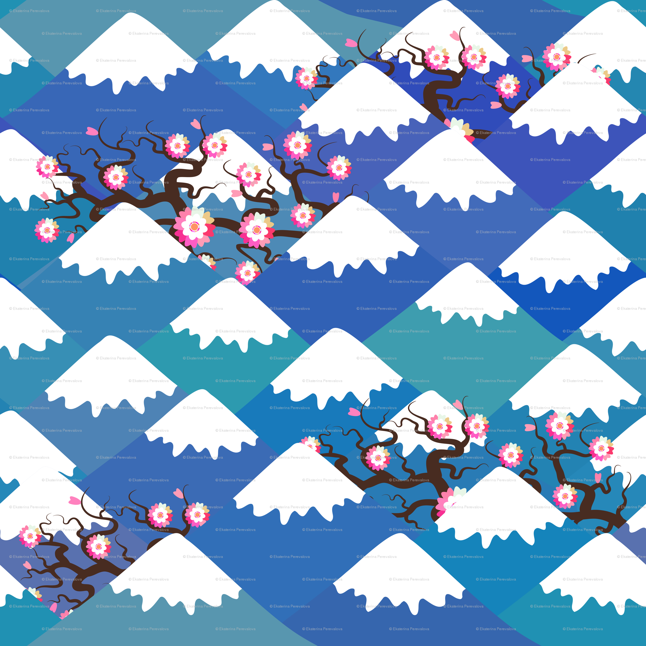 Snow capped peaks clipart free stock sakura pink flowers landscape. blue mountain with snow ... free stock