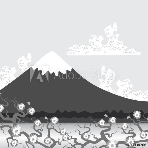 Snow capped peaks clipart clip royalty free Mount Fuji, nature Flat mountain japan landscape. Water lake ... clip royalty free