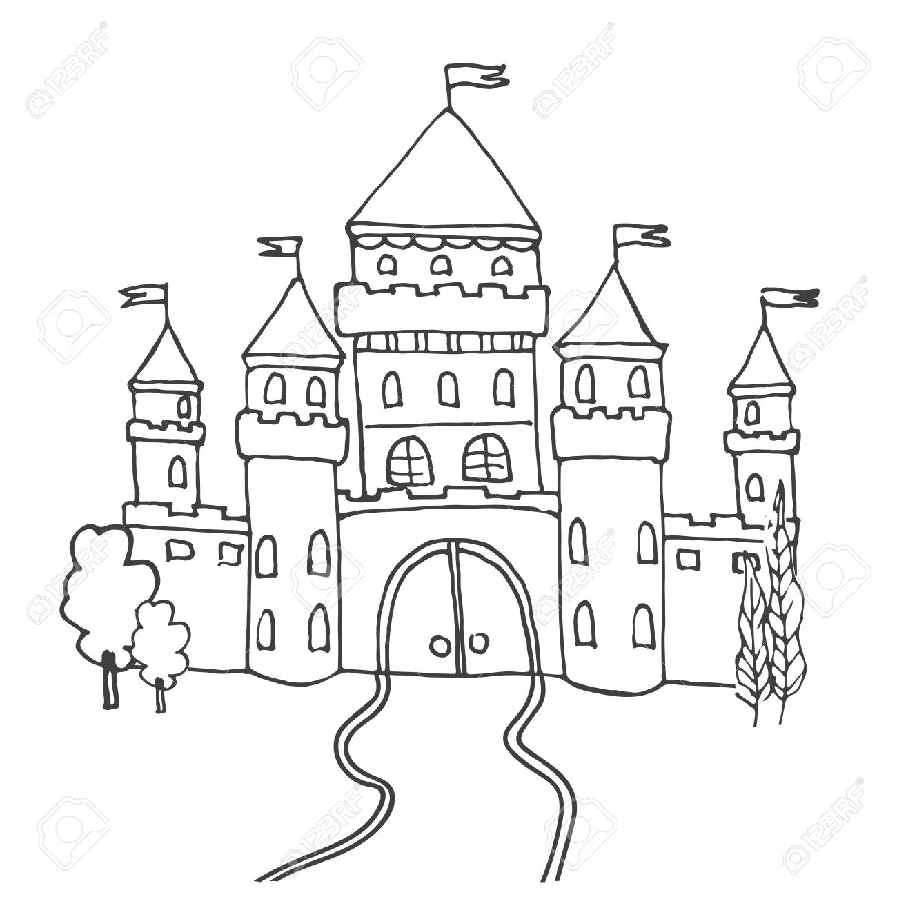 Snow castle clipart black and white sketch clipart transparent stock Fairytale Castle Clipart Black And White clipart transparent stock