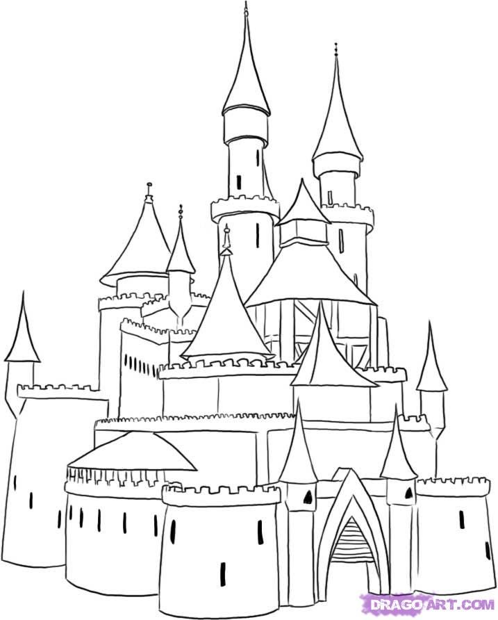 Snow castle clipart black and white sketch picture download Cartoon Castle | how to draw a medieval castle step 4 | Once ... picture download