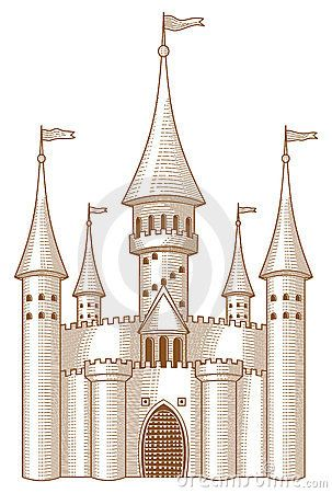Snow castle clipart black and white sketch svg black and white Medieval Castle | Drawing Ideas | Castle painting, Castle ... svg black and white