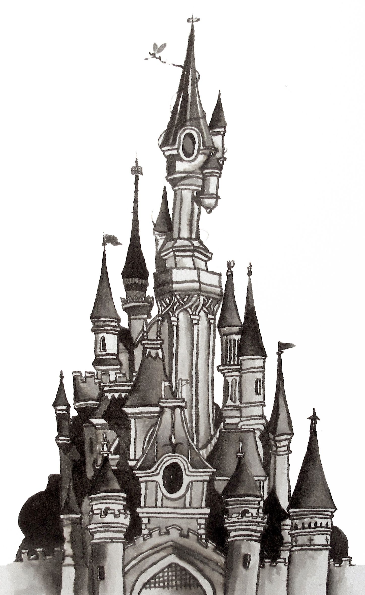 Snow castle clipart black and white sketch svg black and white Architectural Ink drawing Illustration of the Disneyland ... svg black and white