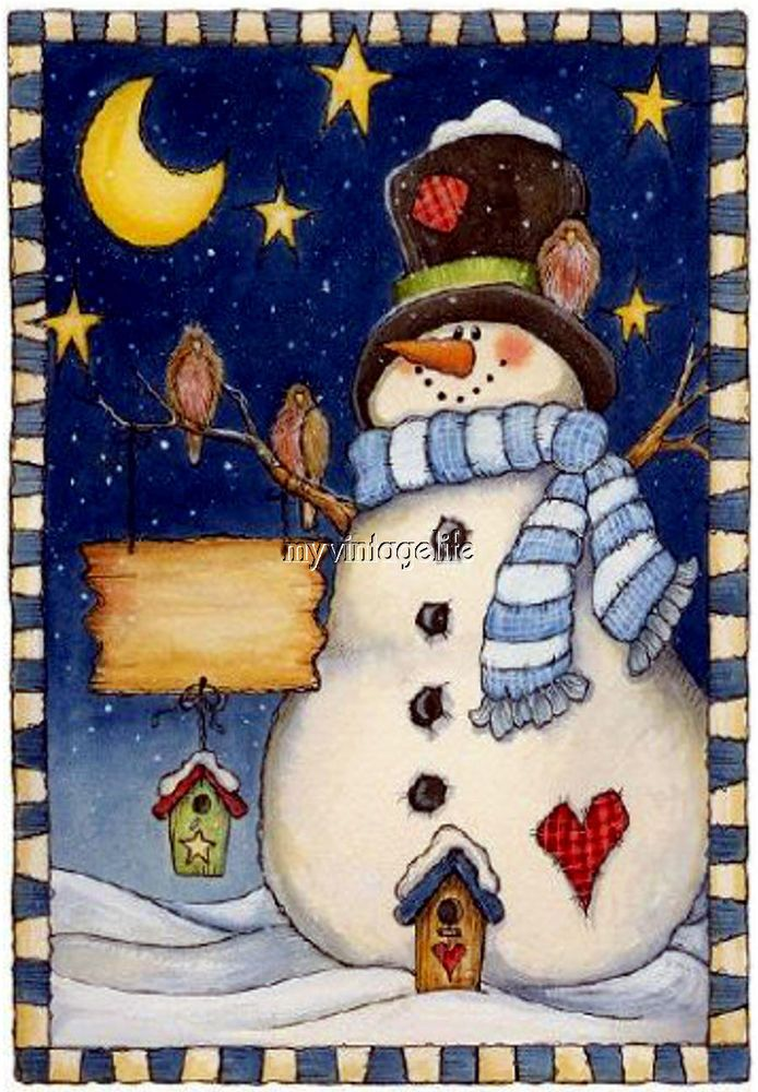 Details about Country Christmas Snowman Starry Night ... image royalty free
