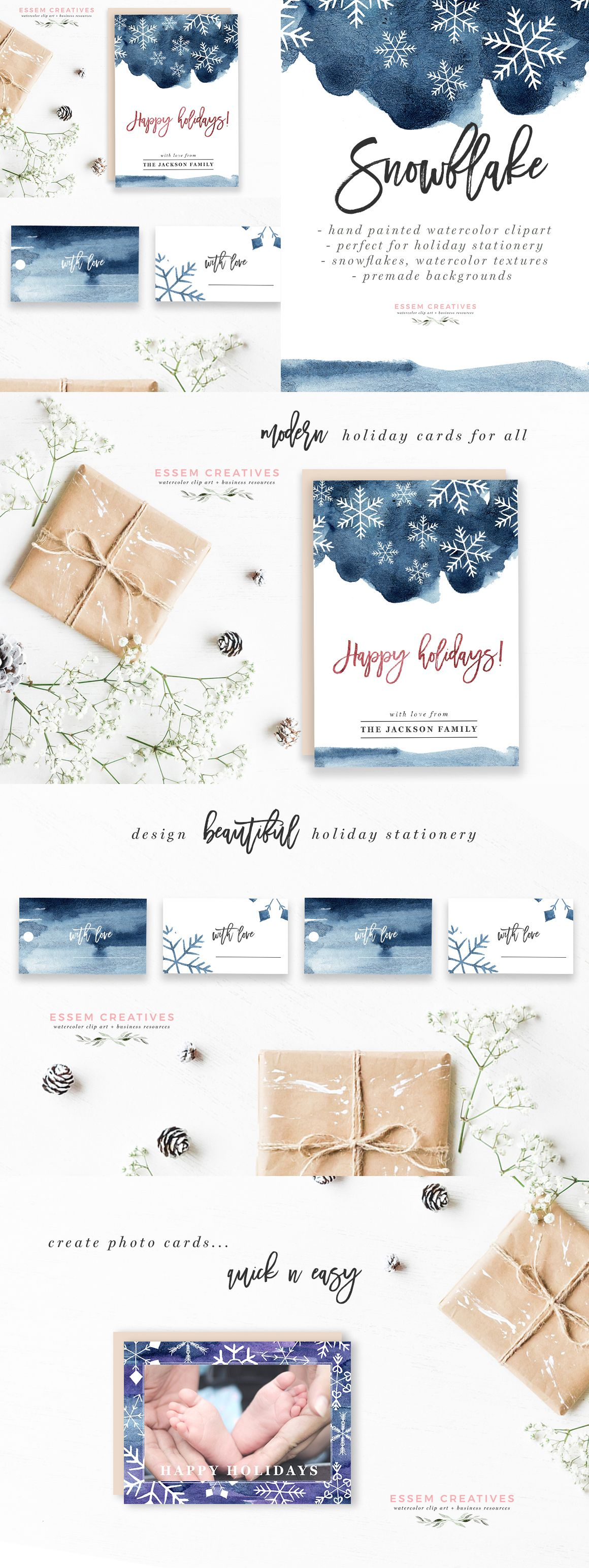 Watercolor Snowflakes Clipart, Winter Graphics, 5x7 ... png free stock