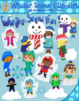 Snow fun clipart banner royalty free Winter Snow Fun Clipart (Blacklines included) banner royalty free