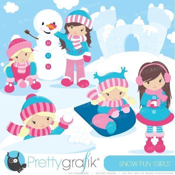 Snow fun clipart clip art free Snow fun girls clipart clip art free