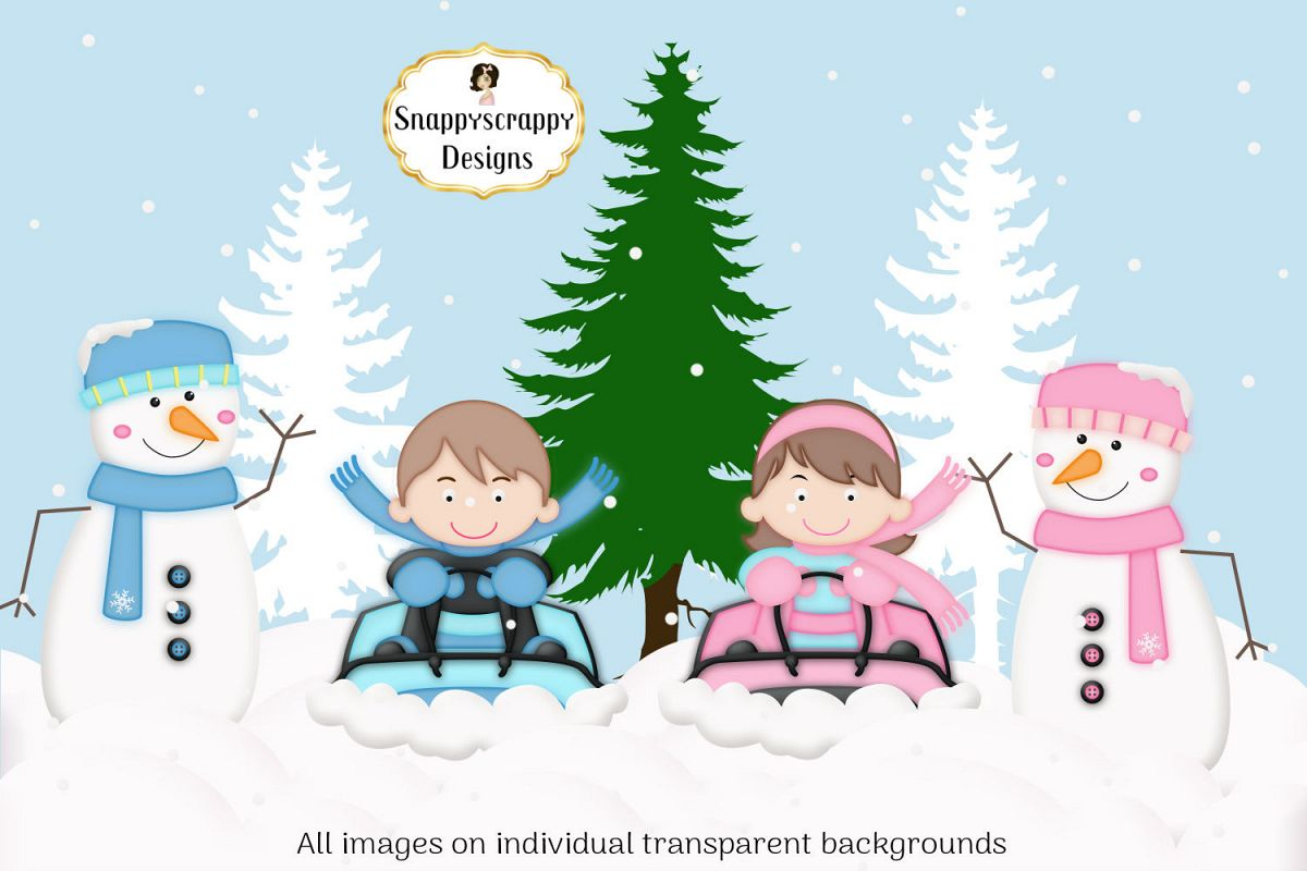 Snow fun clipart image royalty free stock Christmas Winter Snow Fun Clipart image royalty free stock