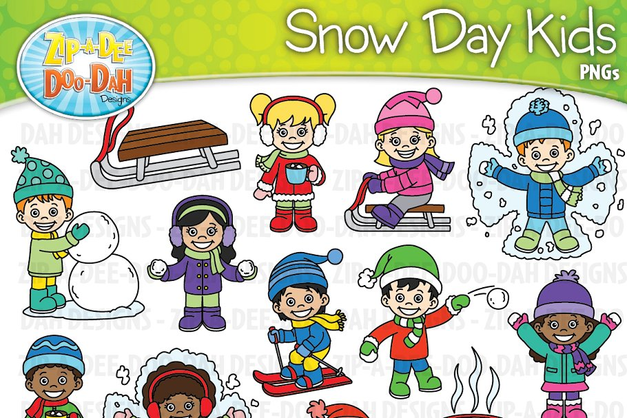 Snow Day Kid Characters Clipart Set svg free download