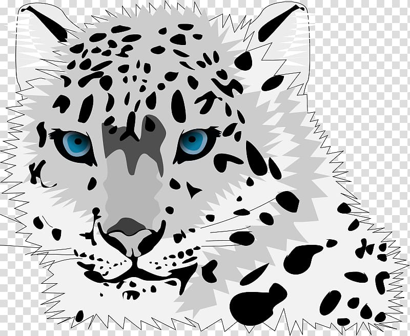 Snow leopard cubs clipart clip black and white Amur leopard Snow leopard Cartoon Cat , Leopard Head ... clip black and white