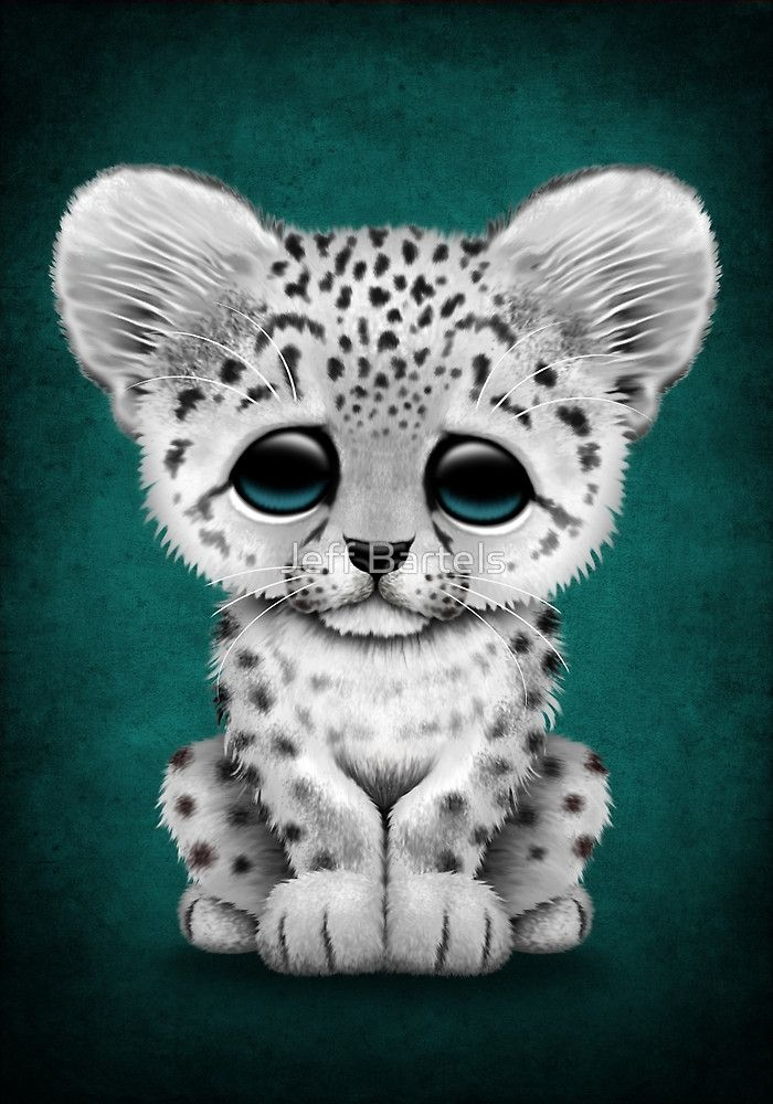 Snow leopard cubs clipart jpg black and white library Cute Baby Snow Leopard Cub on Teal Blue | Art Print ... jpg black and white library