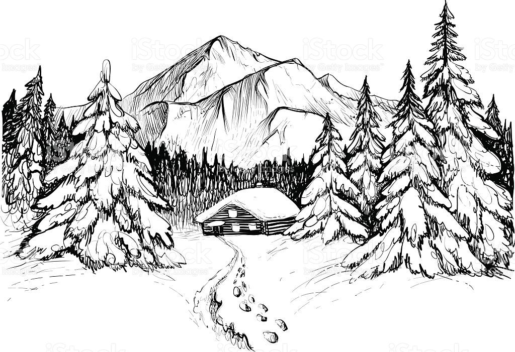 Winter forest in mountains, sketch. Black and white vector ... banner royalty free