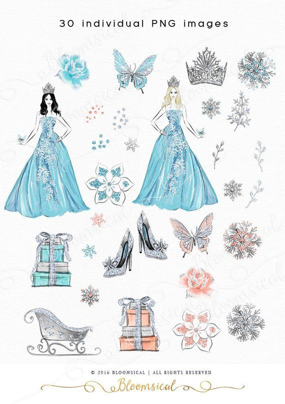 Snow queen clipart clipart black and white download Snow Queen Clip Art | Fashion Illustration Winter Holiday ... clipart black and white download