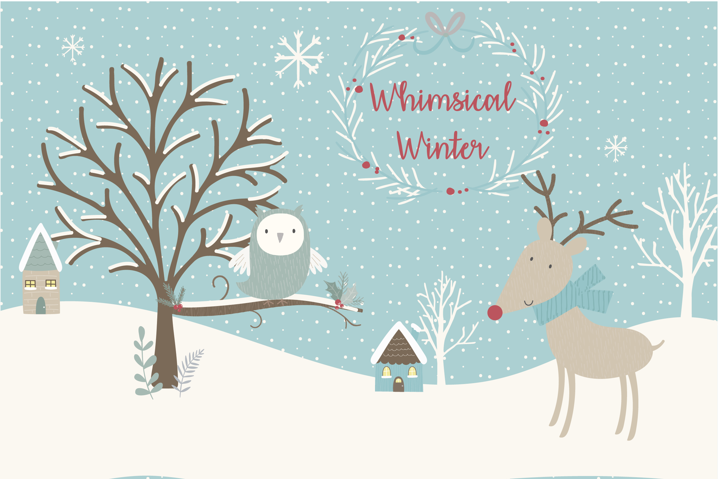 Snow winter clipart vector freeuse library SALE NOW ONLY $4- Whimsical Winter clipart and paper set vector freeuse library