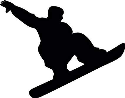Snowboarder silhouette clipart clipart black and white Amazon.com: Wallmonkeys WM230040 Snowboarding Silhouette-3 ... clipart black and white