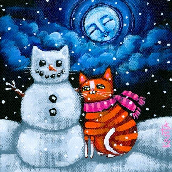 Snowcat clipart clip art royalty free stock Snow CAT Folk Art Cat PRINT, whimsical winter snowman by ... clip art royalty free stock