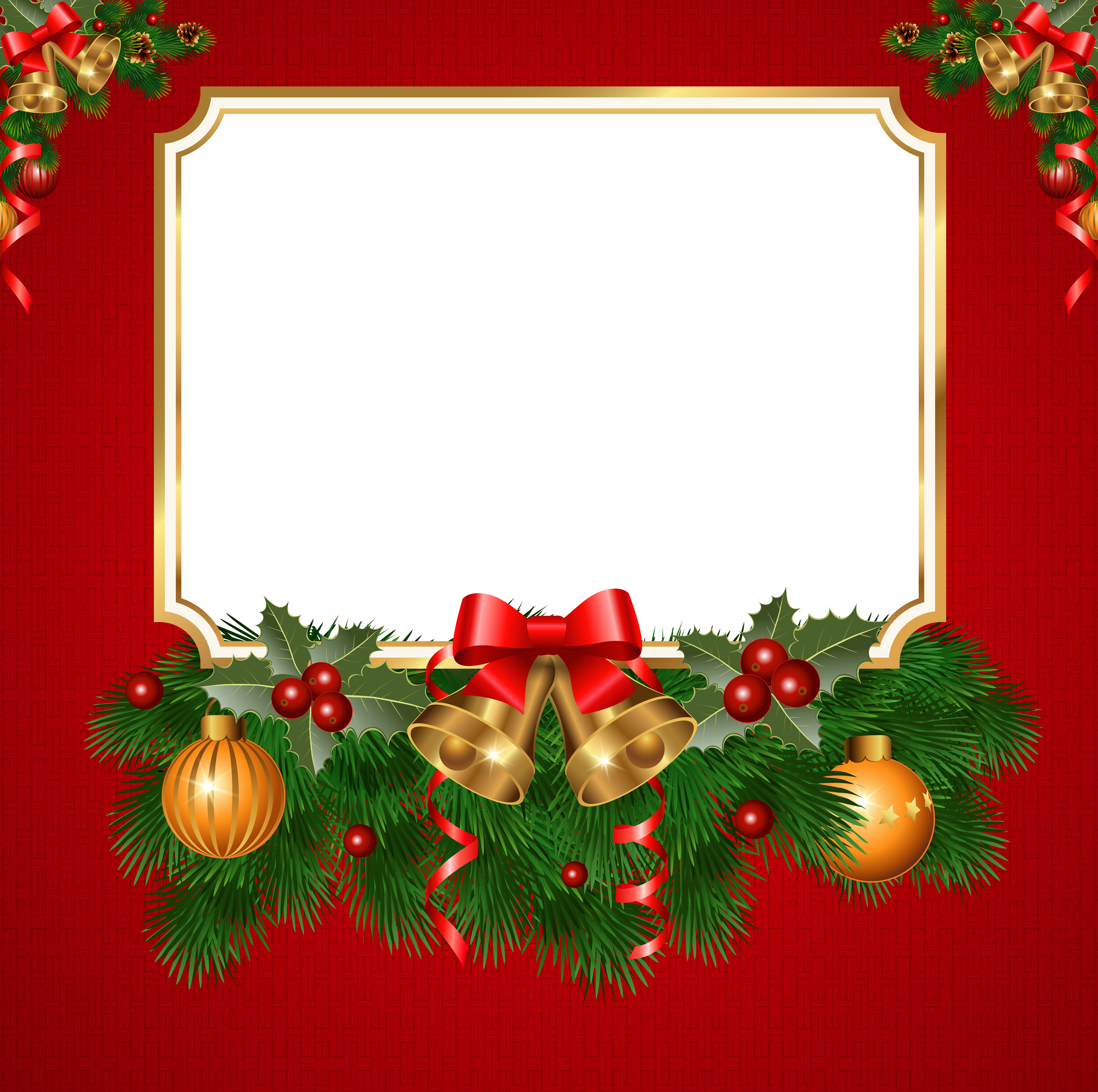 Snowflake and christmas tree border clipart png royalty free Christmas Transparent Red PNG Frame | Christmas | Pinterest ... png royalty free