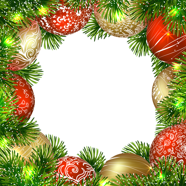 Snowflake and christmas tree border clipart clipart transparent library Transparent Christmas PNG Border Frame with Ornaments | Spaces to ... clipart transparent library