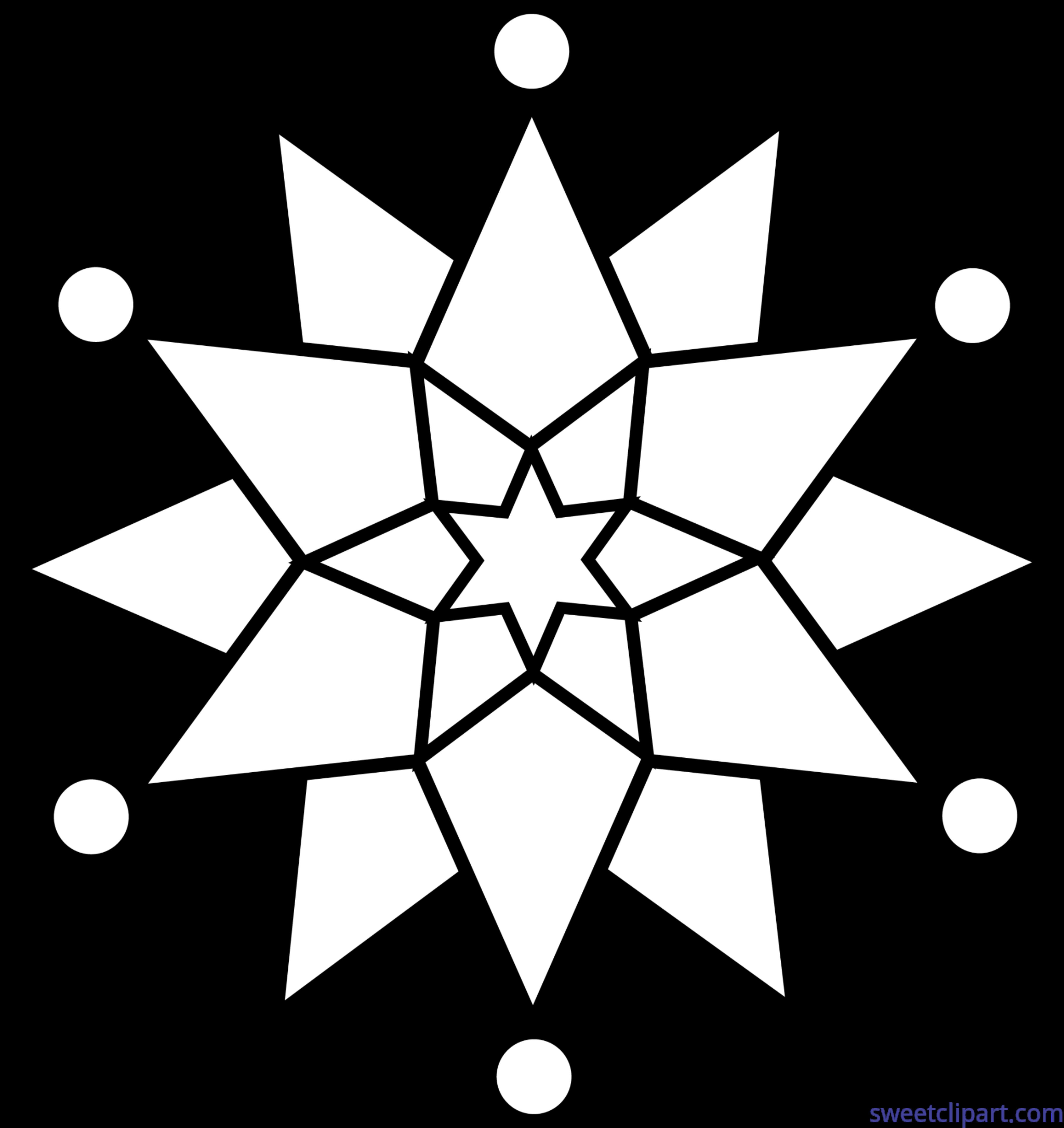 Snowflake circle clipart image freeuse Snowflake Lineart Clip Art - Sweet Clip Art image freeuse