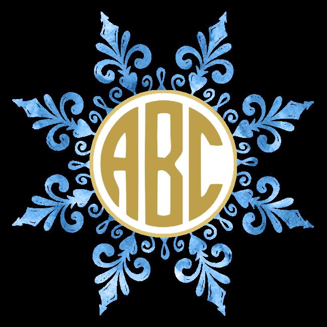 Snowflake monogram clipart black and white download Free Custom Snowflake Monogram | Customize Online black and white download