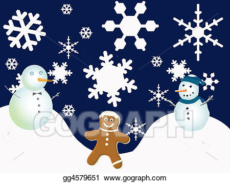 Snowflake clipart scene image freeuse Clipart - Winter holiday scene. Stock Illustration gg4579651 ... image freeuse