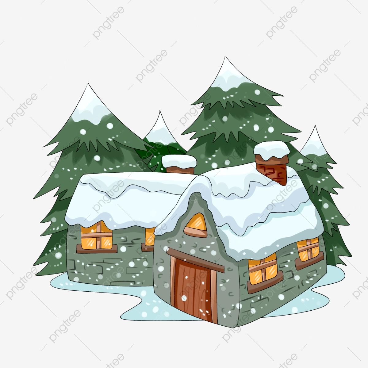 Winter Snow Scene Snowman Hand Drawn Illustration, Night ... clipart royalty free download