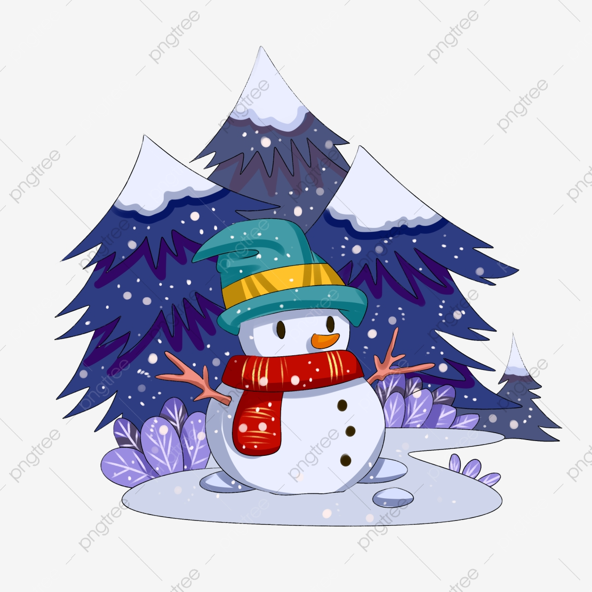 Winter Snow Scene Snowman Hand Drawn Illustration, Night ... vector freeuse