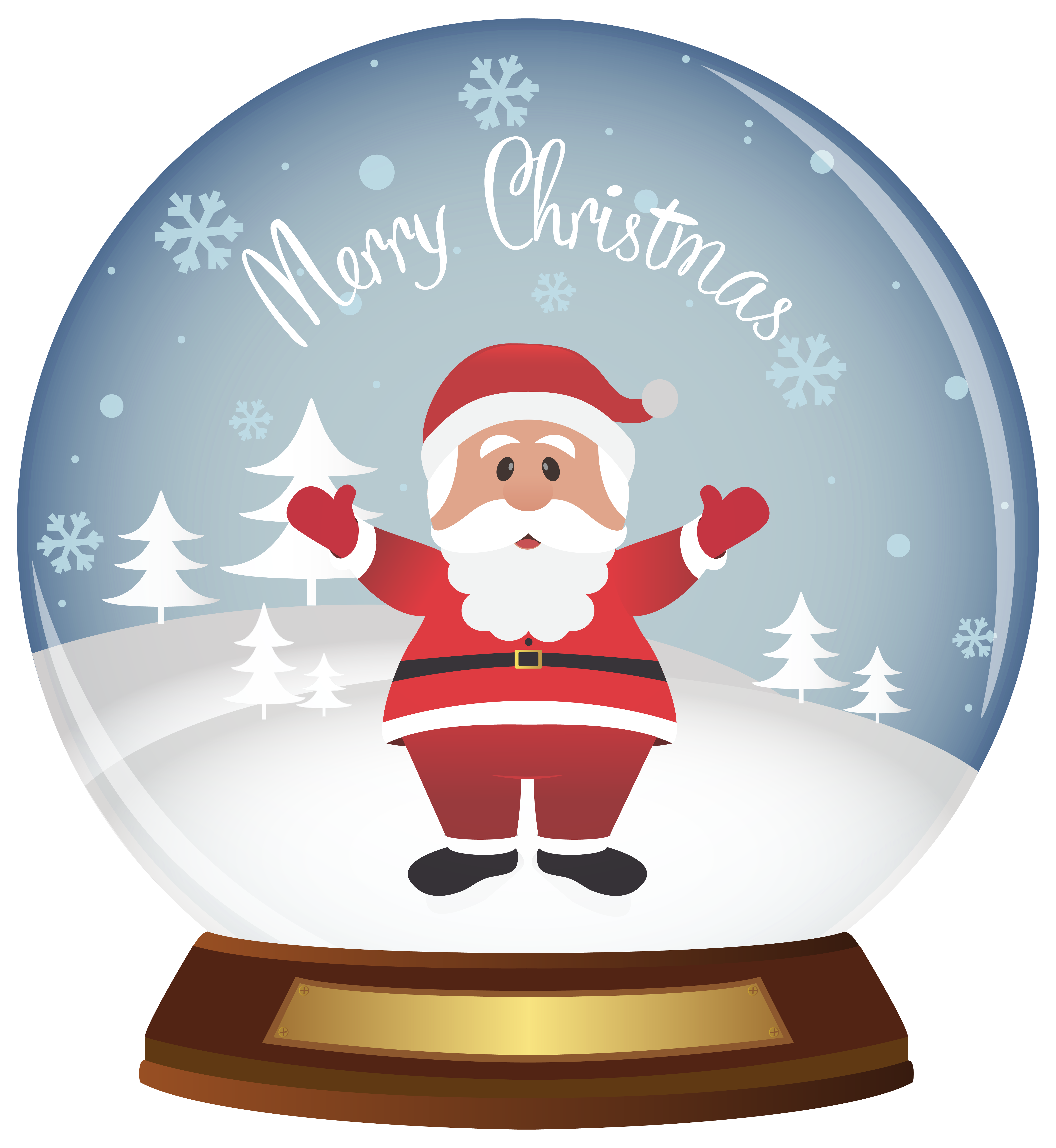 Snowflake globe clipart clip black and white library Christmas Santa Snowglobe PNG Clipart Image | Gallery Yopriceville ... clip black and white library