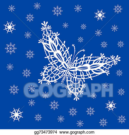 Snowflake lace clipart banner black and white stock Drawing - Ornamented abstract lace snowflake butterfly and ... banner black and white stock