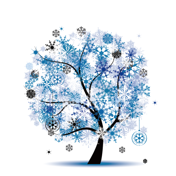 Snowflake stock clipart clip art black and white library Season Royalty-free Stock photography Clip art - Blue Snowflake Tree ... clip art black and white library