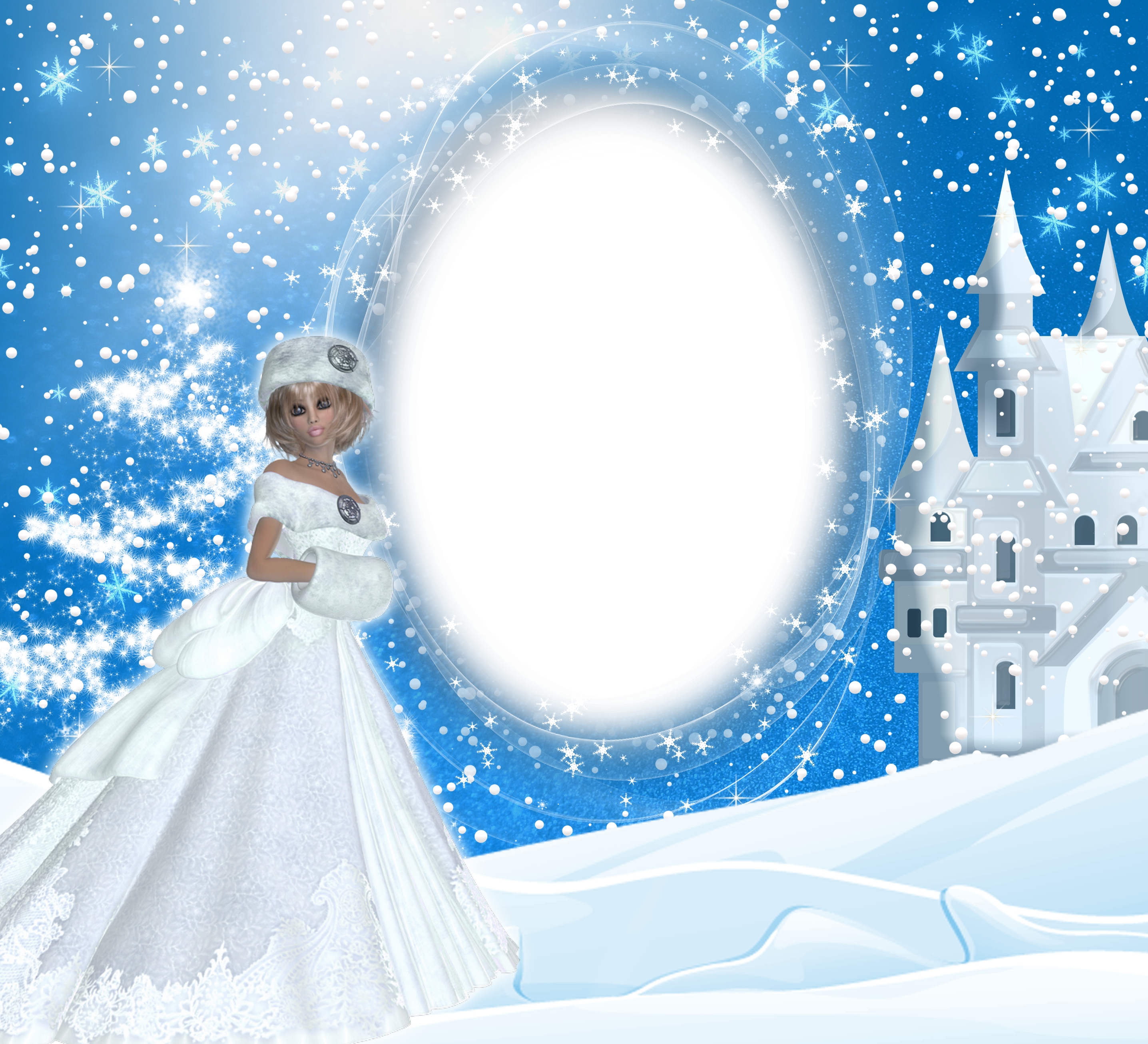 Snowflake winter border clipart clip black and white download Winter Snow Lady PNG Frame | Gallery Yopriceville - High-Quality ... clip black and white download