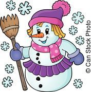 Snowgirl clipart clipart black and white Snowgirl clipart 3 » Clipart Portal clipart black and white