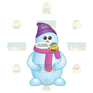 Snowman cartoon clipart image library library Cartoon Looking Snowman With Feet Wearing A Purple Hat And Scarf image library library