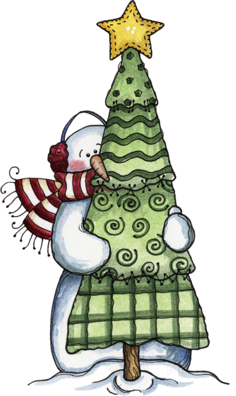 Snowman christmas tree clipart clip royalty free library Snowman Hugging an Evergreen, for the Very Best Time of Year ... clip royalty free library