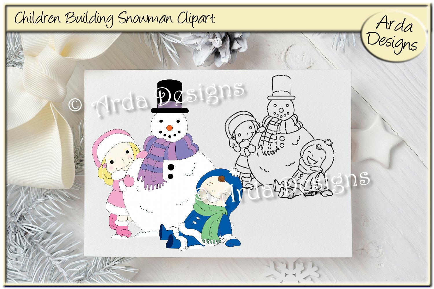 Children & Snowman Clipart svg freeuse stock