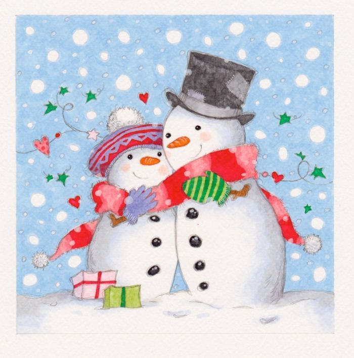Snowman couple clipart royalty free stock Annabel Spenceley - Sharing Snow Couple | Snow much fun ... royalty free stock