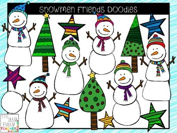 Snowman friends clipart png freeuse stock Clipart - Snowmen Friends Doodles png freeuse stock
