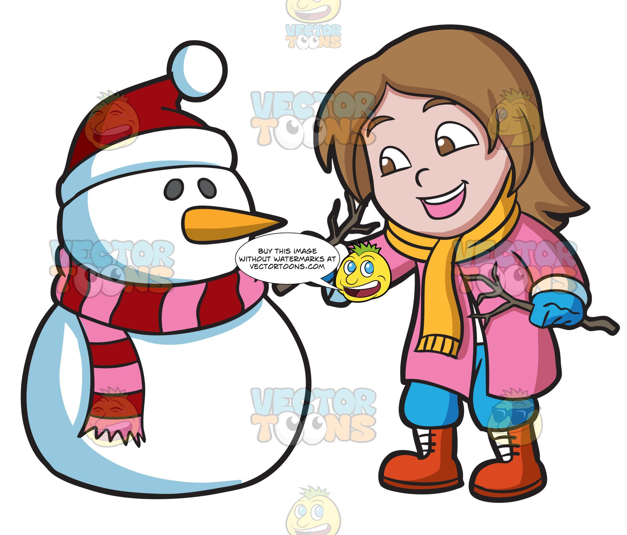Kids building a snowman clipart graphic black and white download A Girl Placing Tree Stems To Make The Arms Of A Snowman graphic black and white download