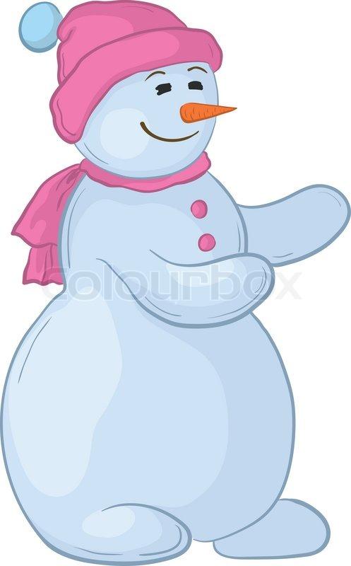 Snowman girl clipart png freeuse Vector cartoon, snowmen woman in a cap ...   Stock vector ... png freeuse