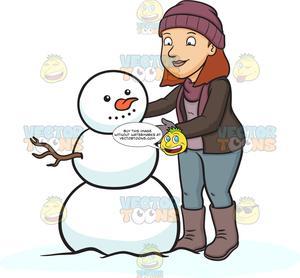 Snowman girl clipart clip art freeuse download A Woman Building A Snowman clip art freeuse download