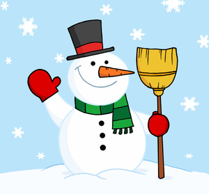 Snowman scene clipart graphic royalty free Free Snowman Clipart Image - Snowman with a Broom Waving graphic royalty free