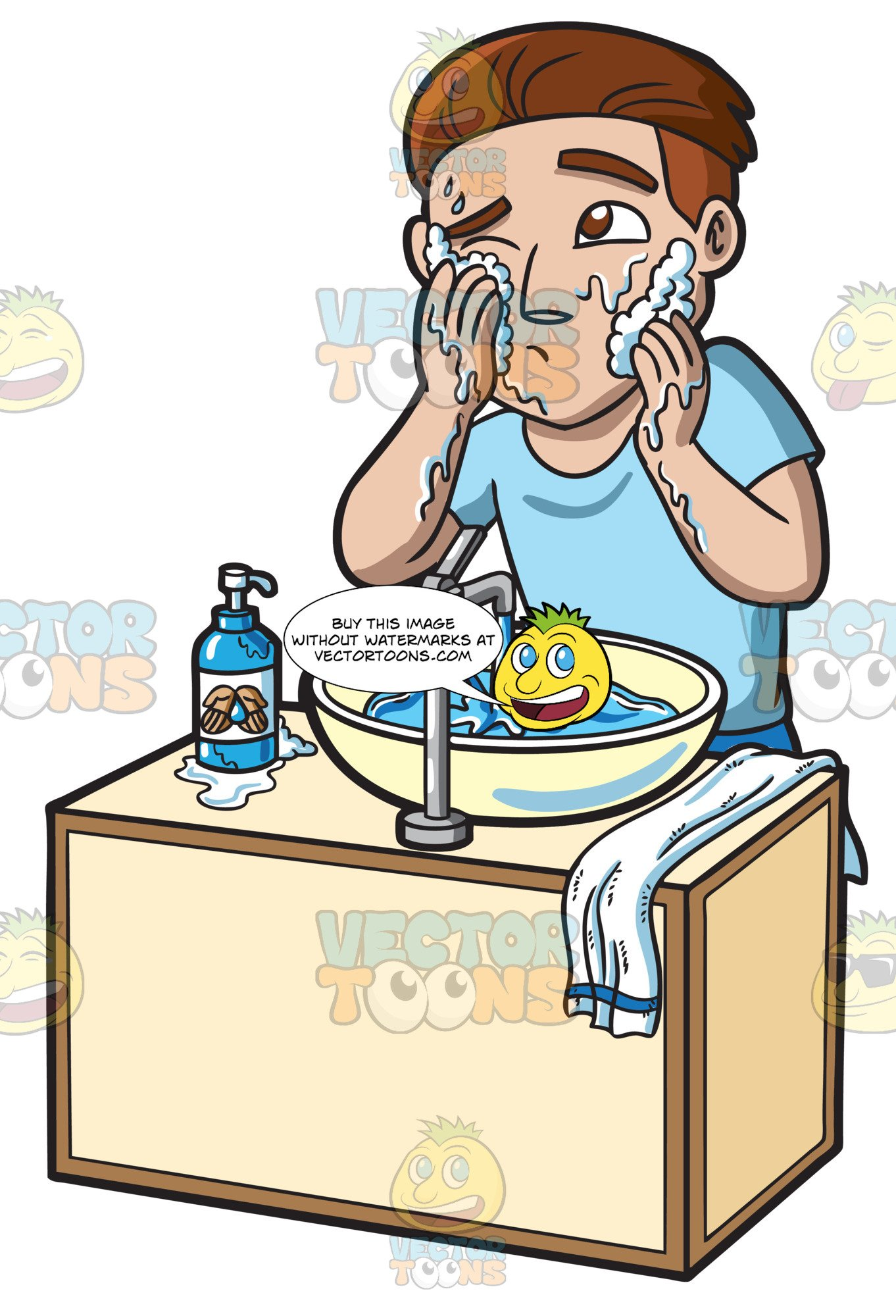 A Man Curiously Scrubs His Face With A Foamy Soap And Water clip art royalty free library
