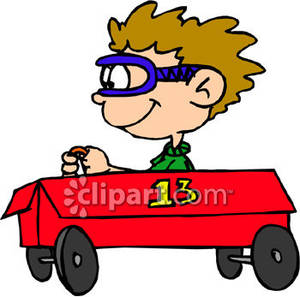 Soap box clipart svg stock A Little Boy Driving a Soap Box Car Royalty Free Clipart Picture svg stock