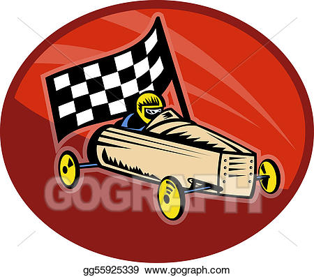 Soap box clipart clip art free stock Stock Illustrations - Soap box derby racing with race flag ... clip art free stock