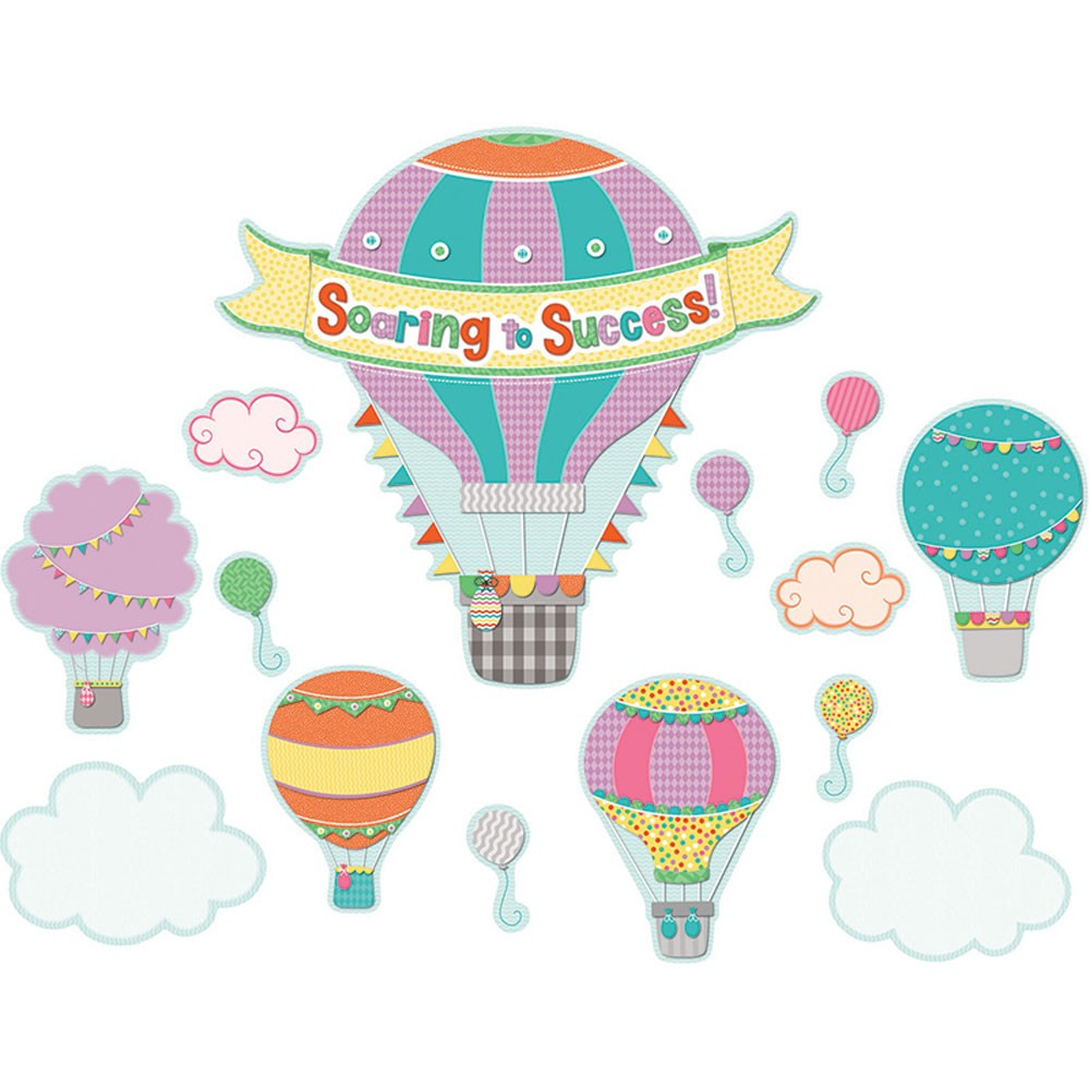 Soar to serve hot air balloon clipart clip art freeuse download Up and Away Soaring to Success Bulletin Board Set clip art freeuse download