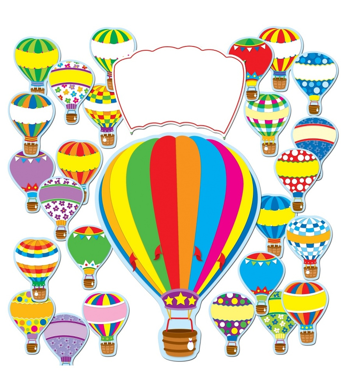 Soar to serve hot air balloon clipart jpg free library Hot Air Balloons Bulletin Board Set jpg free library