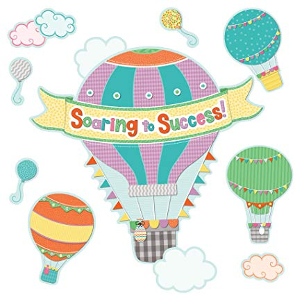 Soar to serve hot air balloon clipart image free stock Up and Away Soaring to Success Bulletin Board Set image free stock