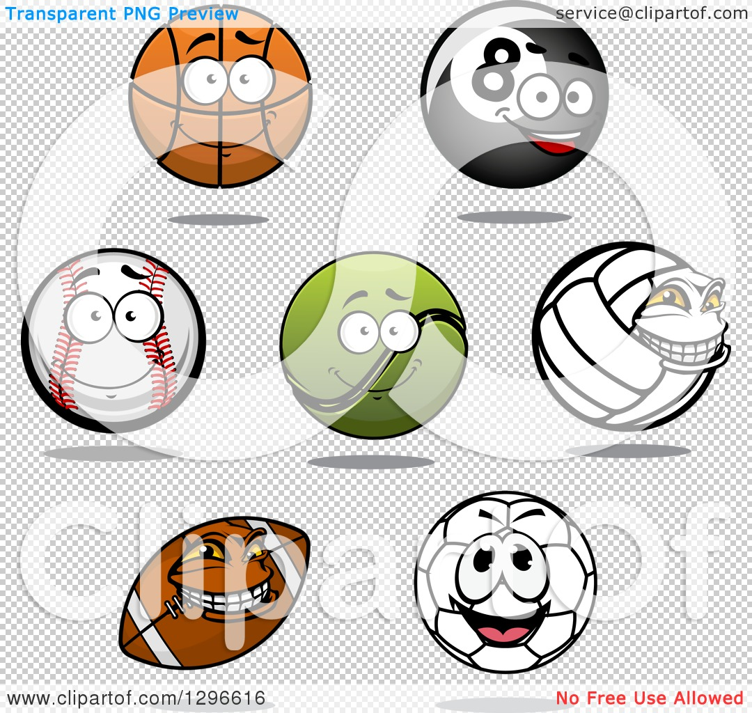 Soccer ball cartoon clipart image transparent library Clipart of a Cartoon Basketball, Eightball, Baseball, Tennis Ball ... image transparent library